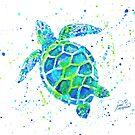 Meeresschildkröte mit Farbklecksen von Jan Marvin von Jan Marvin