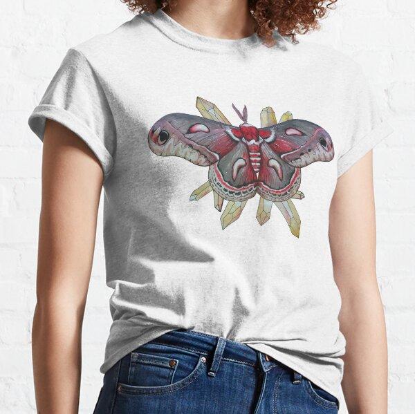 Cecropia Moth and Citrine Crystals, Watercolor Hyalophora cecropia  Classic T-Shirt