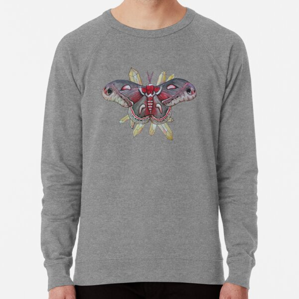 Cecropia Moth and Citrine Crystals, Watercolor Hyalophora cecropia  Lightweight Sweatshirt