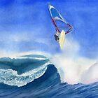 Windsurfer Aquarellmalerei von Sandra Connelly