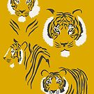 Tigers on Yellow by latheandquill