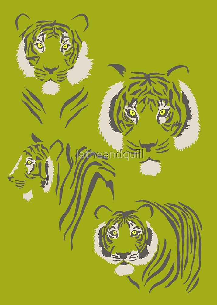 Tigers in Green by latheandquill