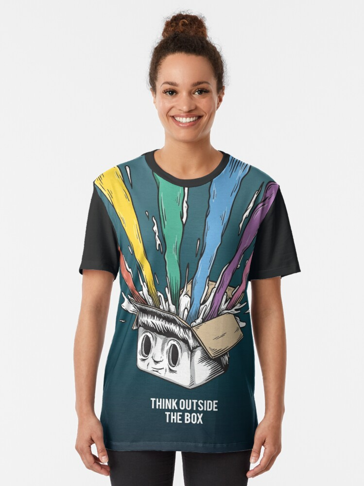 Alternate view of Think Outside The Box Startup Entrepreneurial Self Employed Teamwork Graphic T-Shirt