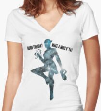 Mass Effect Silhouettes, Liara - Burn Thessia? Make a Mess o' Ya! Women's Fitted V-Neck T-Shirt