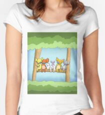 Multi coloured cute koala in a tree Fitted Scoop T-Shirt