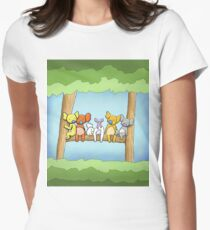 Multi coloured cute koala in a tree Fitted T-Shirt