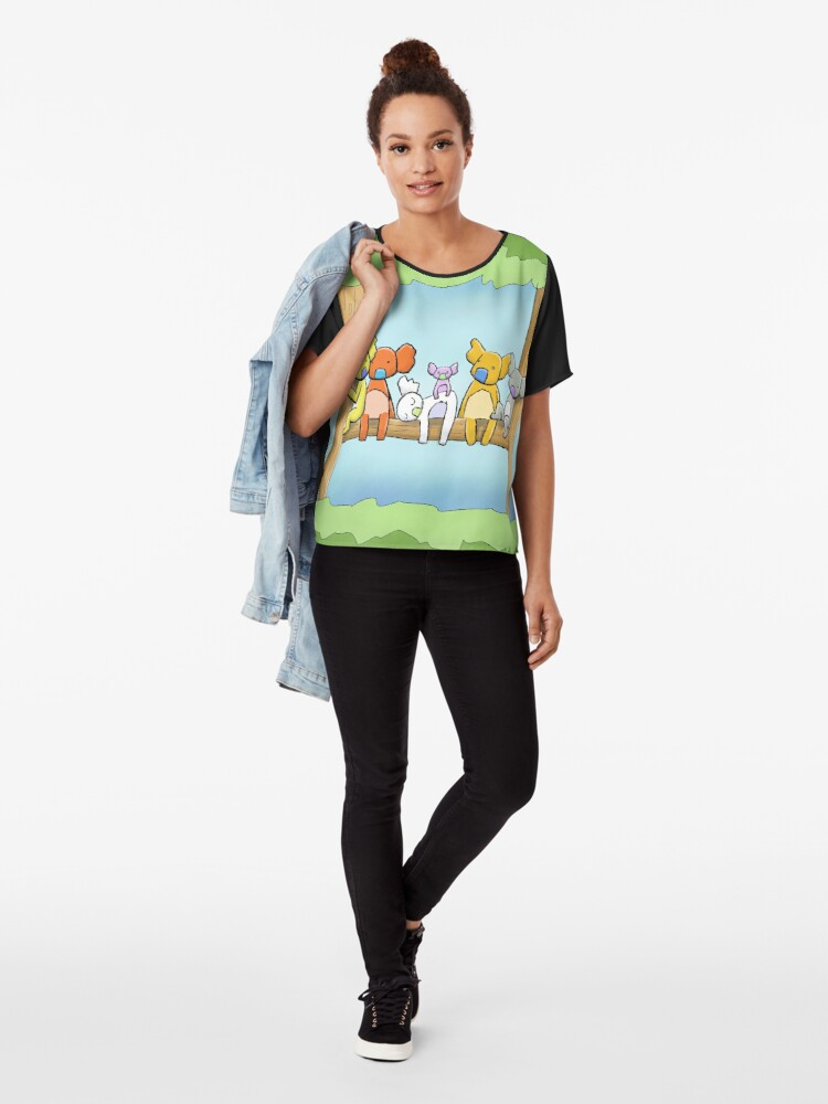 Alternate view of Multi coloured cute koala in a tree Chiffon Top