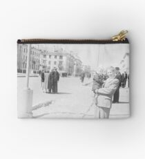 #standing, #pedestrian, #people, #adult, group, war, military, photography Zipper Pouch