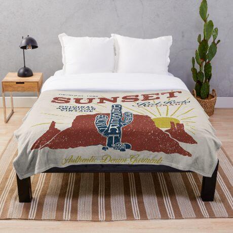 Red Rocks Colorado Vintage Throw Blanket