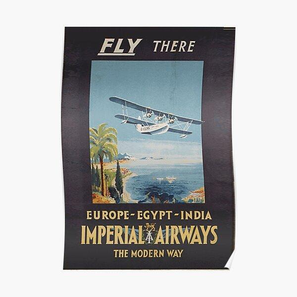 Art Ad Fly Imperial Airways  Europe Asia Afria Aus  Art Deco  Poster Print