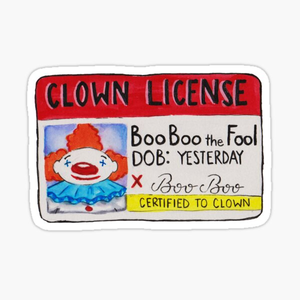 Clown License Sticker