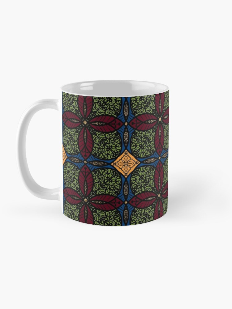 Alternate view of Ankara African print (olive). Mug
