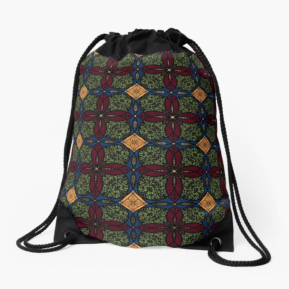 Ankara African print (olive). Drawstring Bag