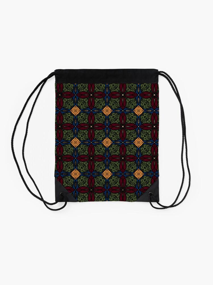 Alternate view of Ankara African print (olive). Drawstring Bag