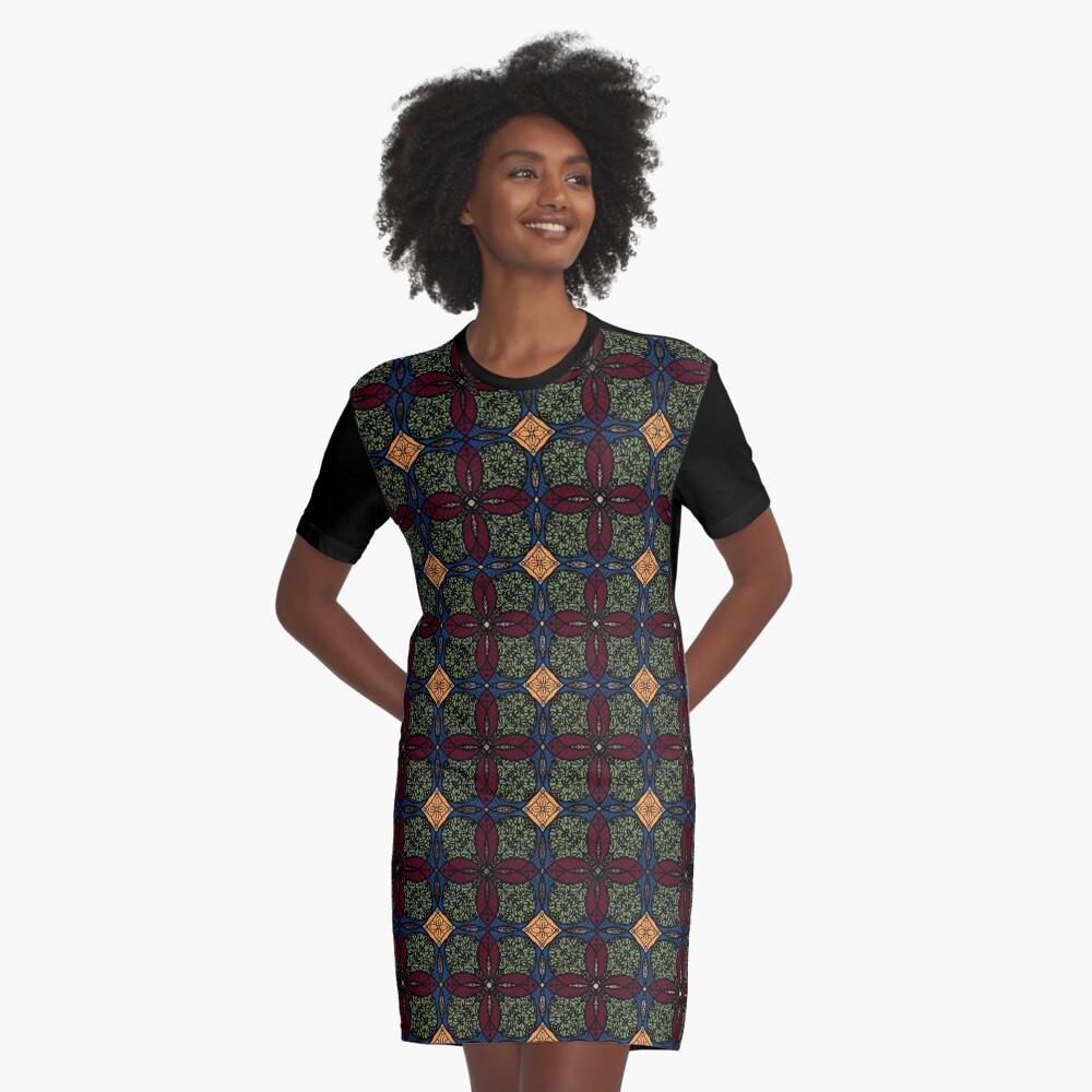 Ankara African print (olive). Graphic T-Shirt Dress