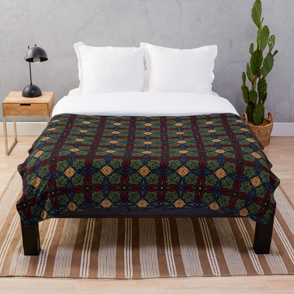 Ankara African print (olive). Throw Blanket