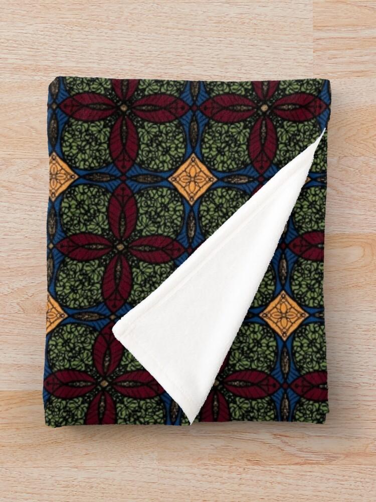 Alternate view of Ankara African print (olive). Throw Blanket