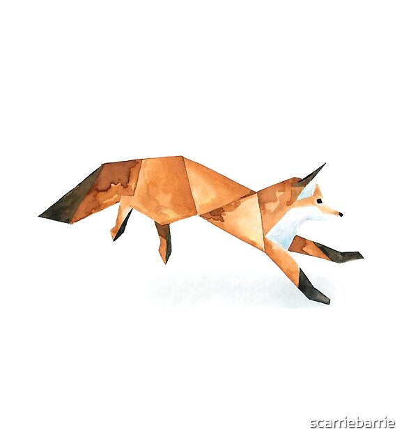 Low poly watercolor fox. by scarriebarrie