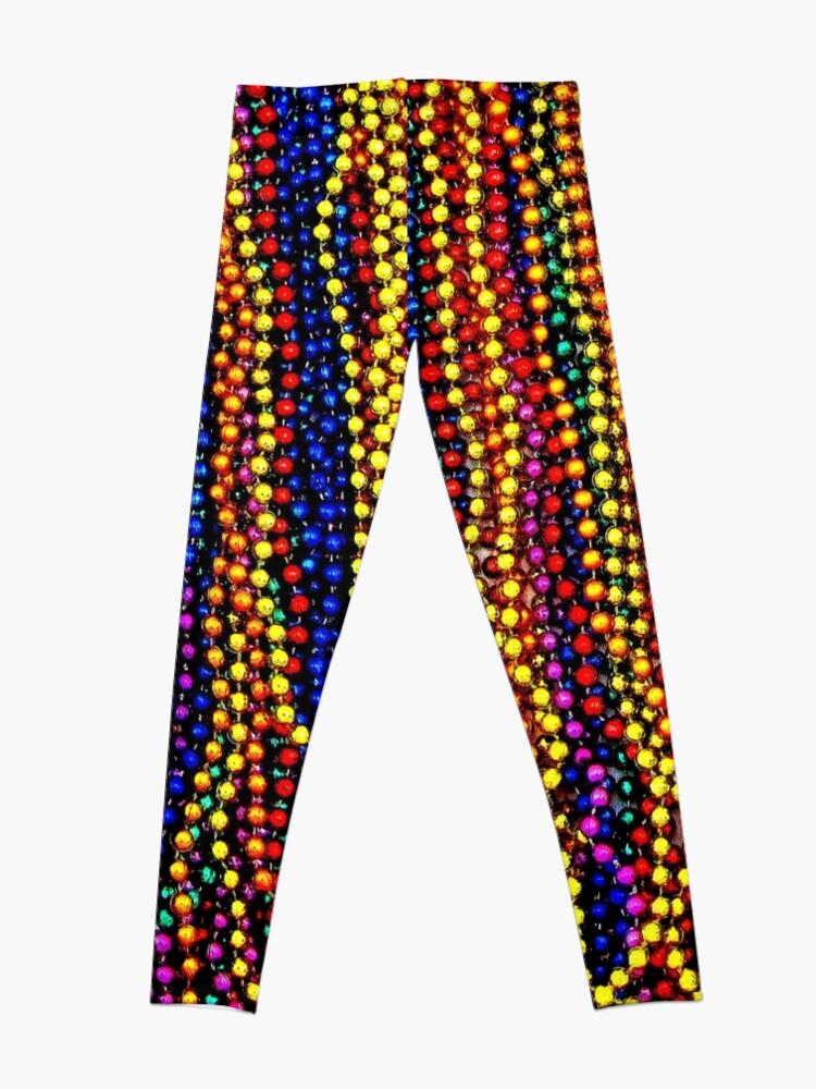Alternate view of MARDI GRAS :Colorful Beads Print Leggings