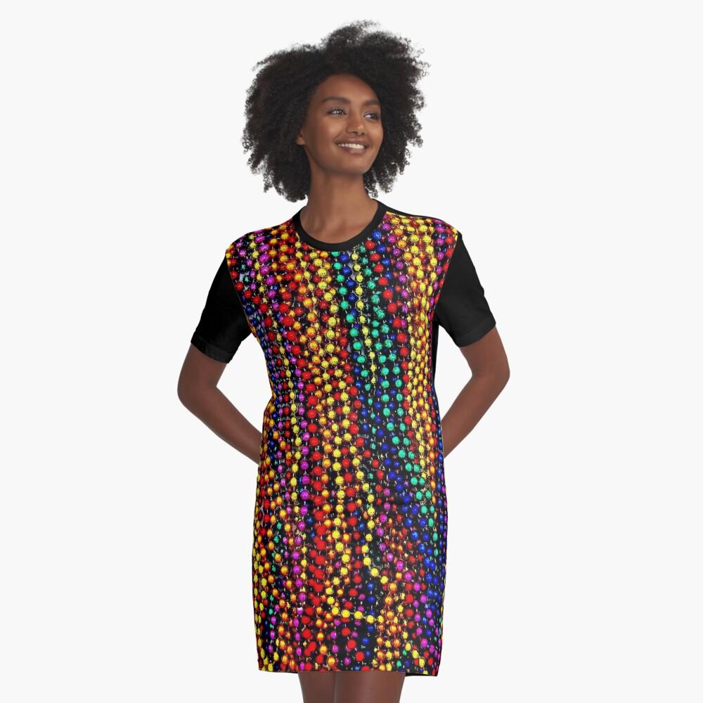 MARDI GRAS :Colorful Beads Print Graphic T-Shirt Dress