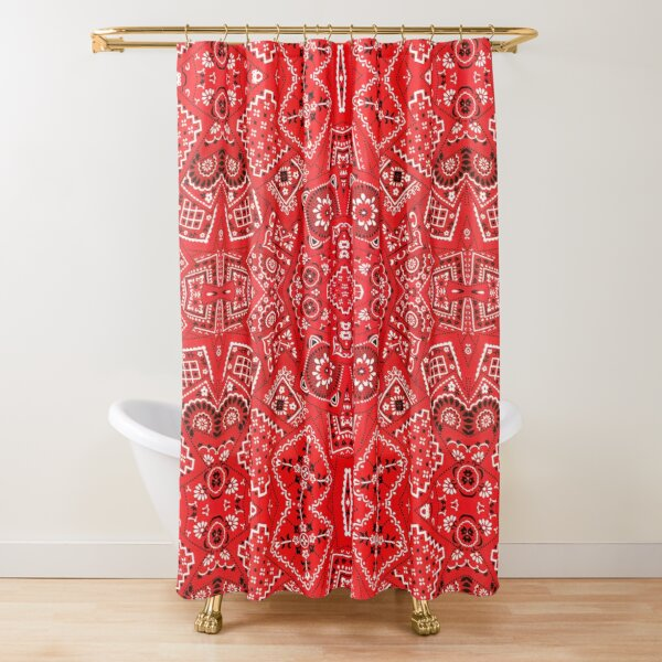 Red Bandanna Pattern Shower Curtain