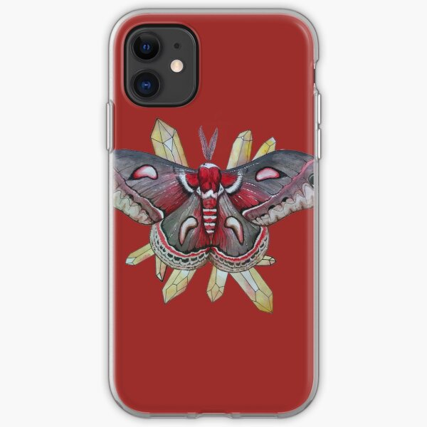 Cecropia Moth and Citrine Crystals, Watercolor Hyalophora cecropia  iPhone Soft Case