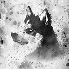 Husky Aquarell Porträt von Destroyed-Pixel