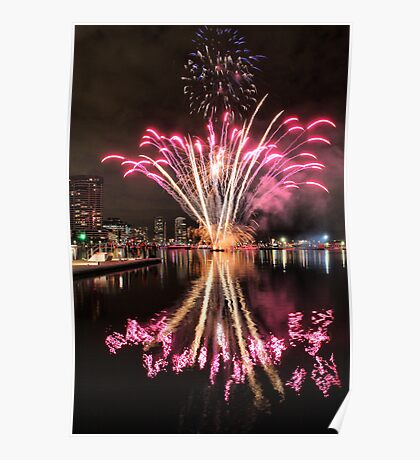 Fireworks reflections Poster