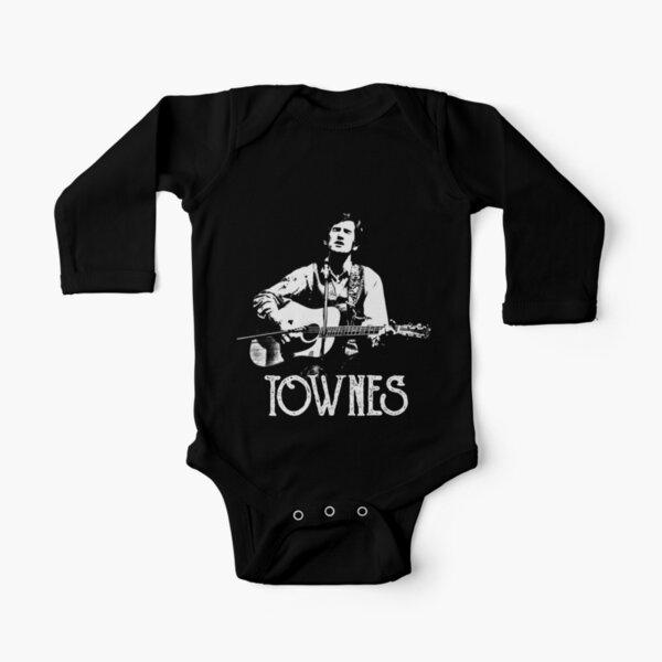 Townes Van Zandt - White Stencil Long Sleeve Baby One-Piece