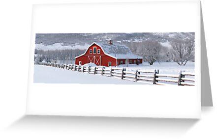 Winter Barn Panorama by David Kocherhans