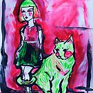 Neon Cat and Space Girl by Natalie Weinberg