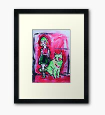 Neon Cat and Space Girl Framed Print