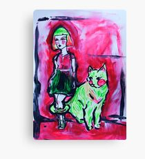 Neon Cat and Space Girl Canvas Print