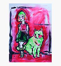 Neon Cat and Space Girl Photographic Print