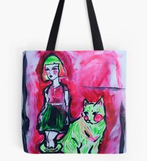 Neon Cat and Space Girl Tote Bag