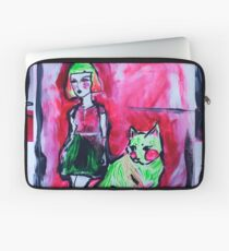 Neon Cat and Space Girl Laptop Sleeve