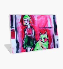 Neon Cat and Space Girl Laptop Skin