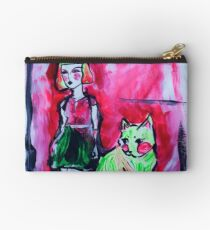 Neon Cat and Space Girl Studio Pouch