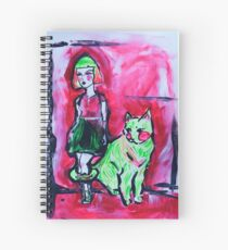 Neon Cat and Space Girl Spiral Notebook