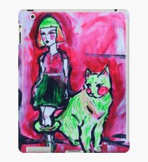 Neon Cat and Space Girl iPad Case/Skin
