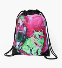 Neon Cat and Space Girl Drawstring Bag