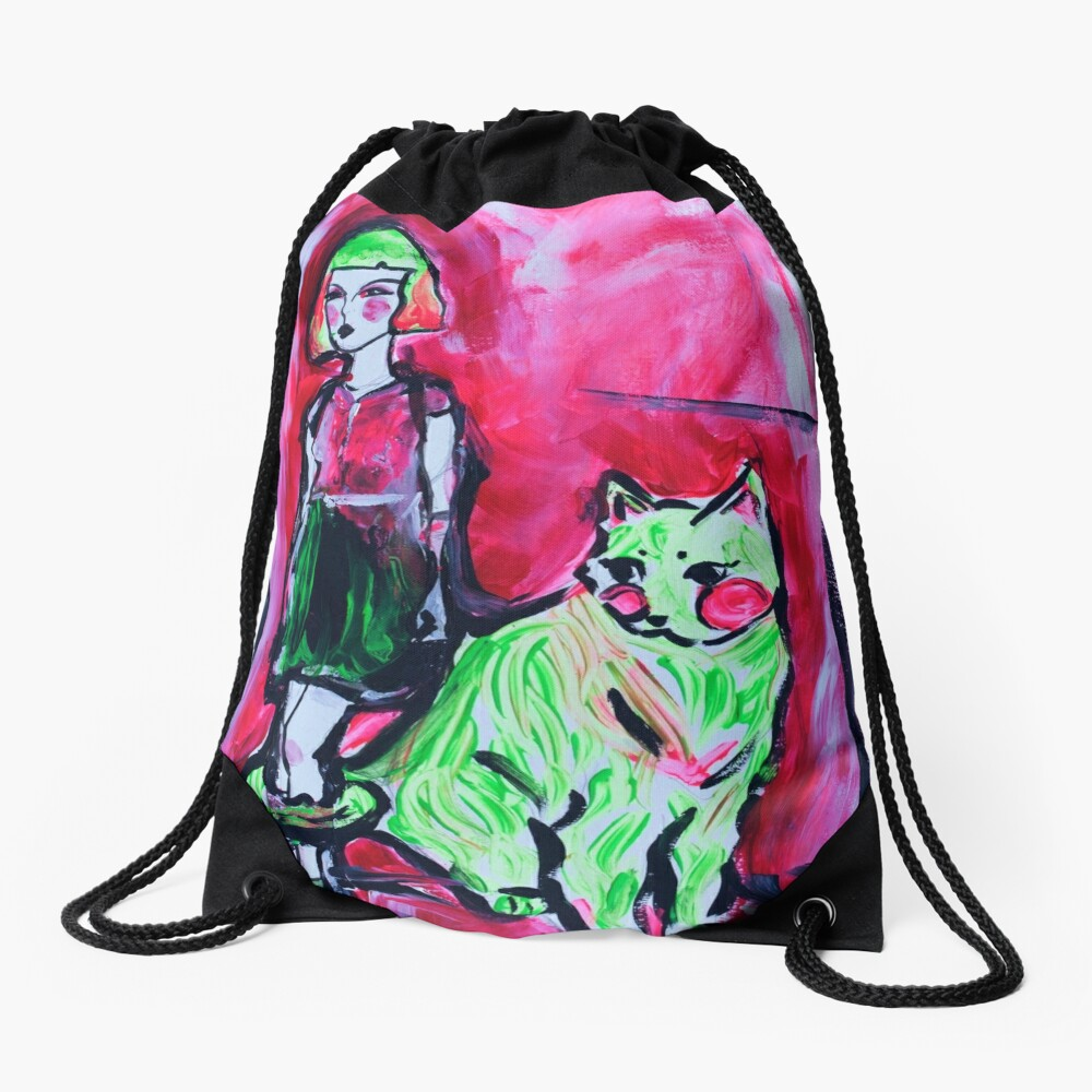 Neon Cat and Space Girl Drawstring Bag Front