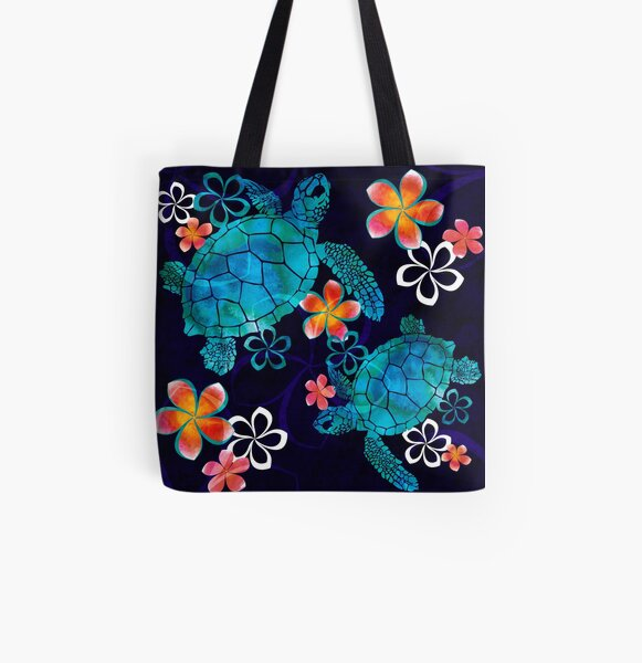 Sea Turtle with Flowers All Over Print Tote Bag