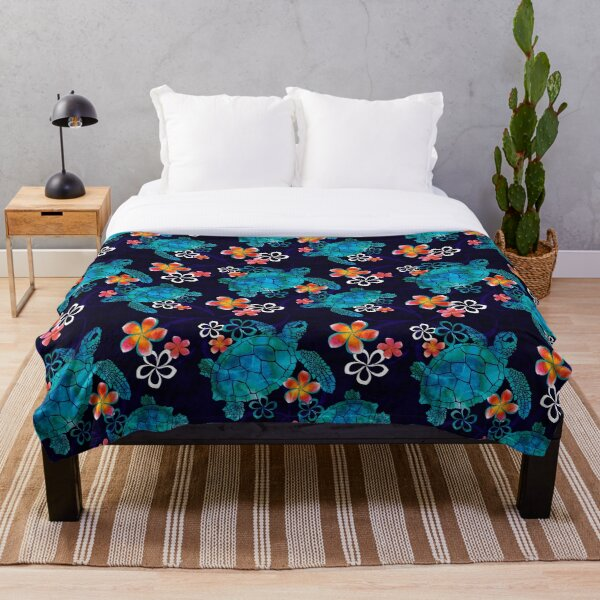 Sea Turtle with Flowers Throw Blanket