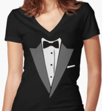 Casual Tuxedo Women's Fitted V-Neck T-Shirt