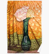 Roses In A Green Vase Poster