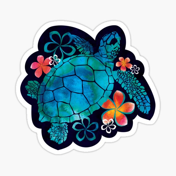 Sea Turtle with Flowers Sticker