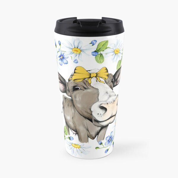 Cute Cow With Yellow Bow, Cow Shirts for Women Travel Mug