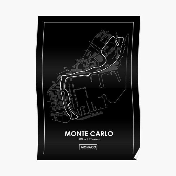 Monte Carlo - Mónaco Track Map BLANCO Póster