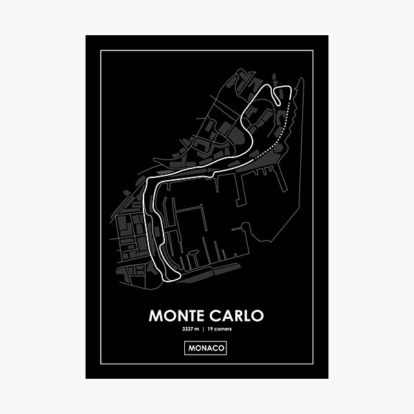 Monte Carlo - Monaco Track Map BLANC Impression photo